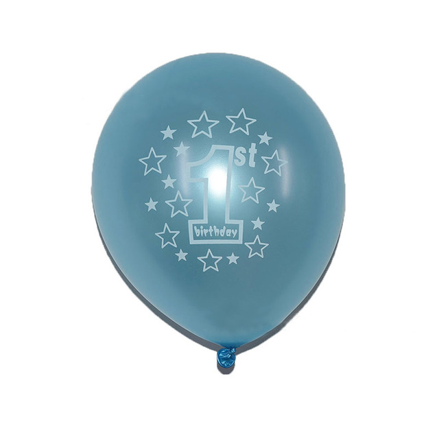 10pcs Round Baby 1 Year Old 2 Years Birthday Balloon Number Printing Latex Balloons For