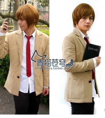New Hot Death Note Light Yagami Cosplay Costume top+pant+coat+tie