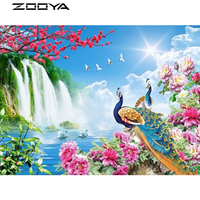 ZOOYA Diamond Painting 3D DIY Diamond Embroidery Sale New Year S Products Landscape Waterfall Peacock Swan