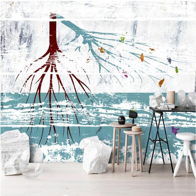 Black And White Wall Decor Tree Wallpaper For Walls Abstract 3d Bedroom Dining Room