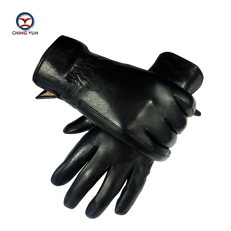 CHING YUN New Winter Man Sheepskin Leather Gloves Male Warm Soft Men's Gloves Black Men Mittens Wool Lining Large Size Glove 02