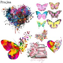 Prajna Colorful Butterfly Heart Stickers Iron On Transfer Heat Vinyl Thermal T-shirt DIY Summer Style Patch