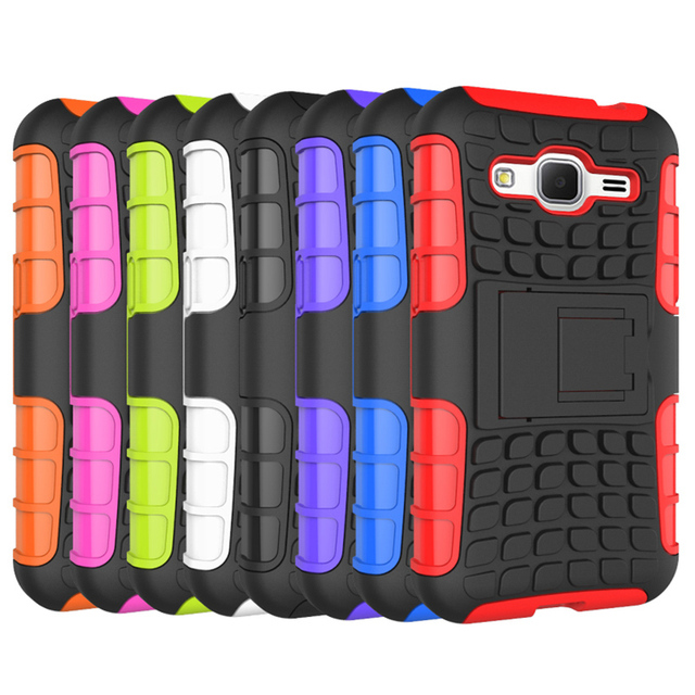 Tire profile PC and TPU Silicone Case For Samsung Galaxy Core Prime G360 G3606 G3608 G3609 G361F With Kickstand Function Case