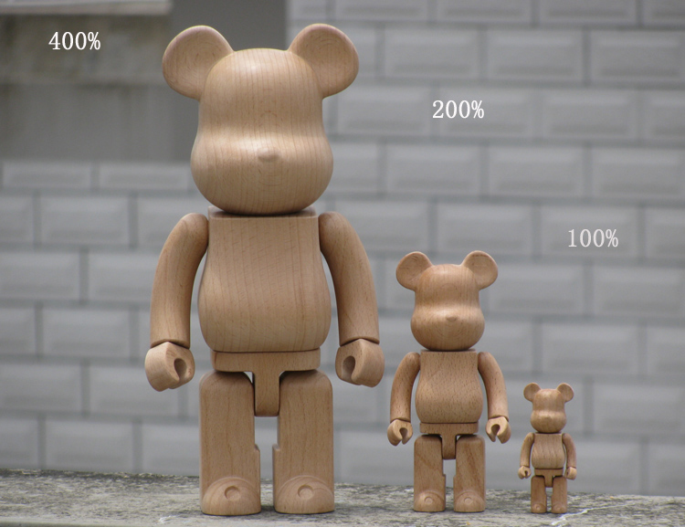 High Quality Wooden Bearbrick Be@rbrick 100%(7cm)/ 200%(14.5cm) /400%(28cm) Made by Beech wood high quality oversize 52cm bearbrick be rbrick matt diy pvc action figure toys bearbrick blocks vinyl doll 3 color optional