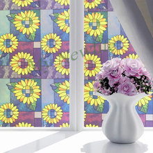 sunflower Cartoon Window Film Self-adhesive bedroom bathroom Sliding doors stained glass film Home Decor Sticker 90*200cm