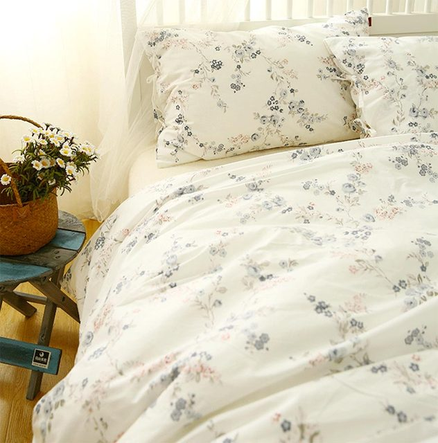 Blue floral bedding set teen kid,100%cotton twin full queen king ...