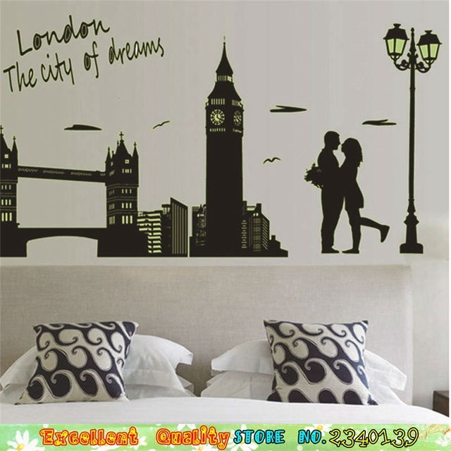 Romantic Lover London Bridge City Night Wall Sticker For Couple ...