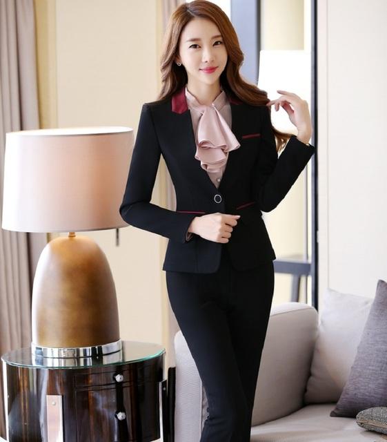 Trajes de Ropa de Trabajo de Oficina profesional Con Chaquetas Y Pantalones Otoño Invierno Mujer Trajes de Pantalones Pantalones Formales de Diseño Uniforme