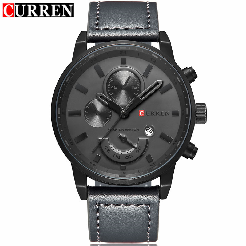 CURREN 8217 Men's Fashion Casual Sport Quartz Watch Mens Watches Top Brand Luxury Leather Strap Waterproof Wristwatch Male Clock curren 8217 casual men quartz watch black