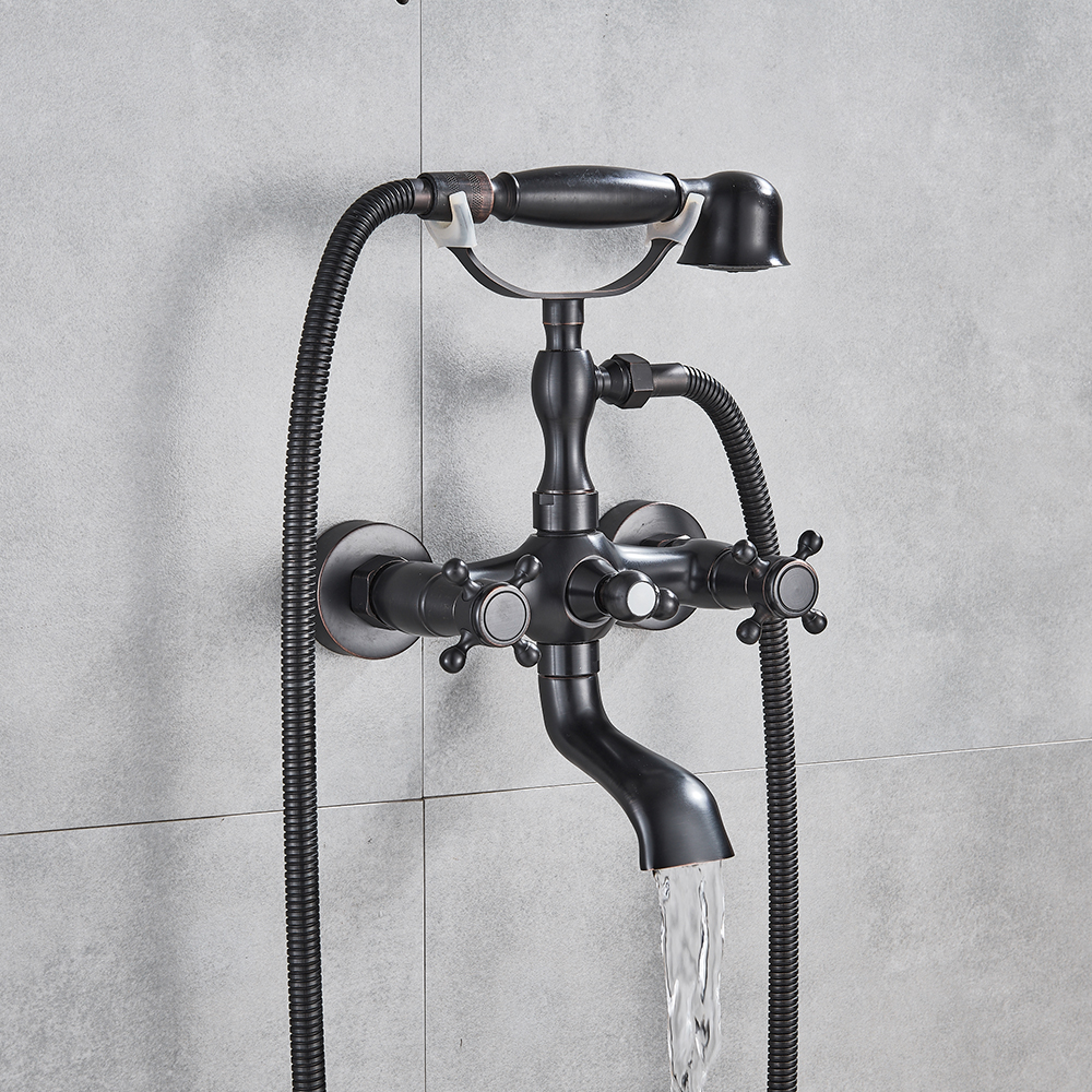 Classic Oil Rubbed Bronze Bathtub Faucet Mixer Tap Telephone Style With Sprayer Hand Shower Rotate Spout