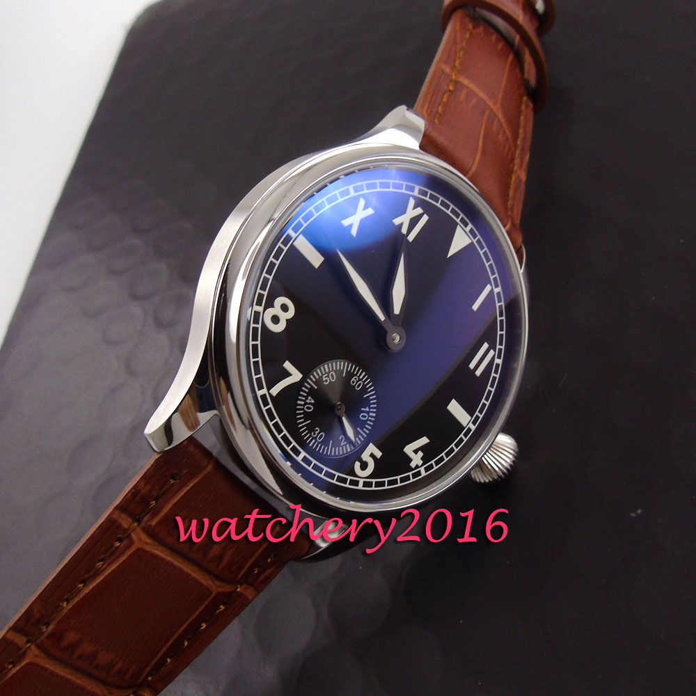 Simple 44mm Parnis black dial white numbers steel case 17 jewels 6498 hand winding movement Men