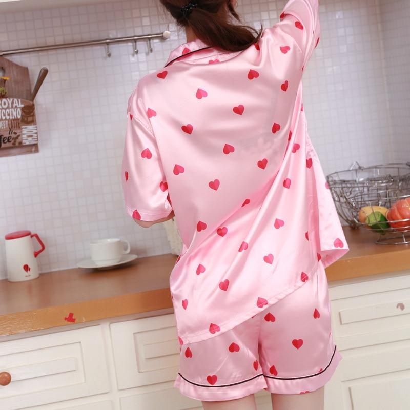 593ab81d20 Pyjamas Women Soft Silk Pajamas Set Girls Cute Pink Heart Printed Sleepwear  Nightwear with Sleep Mask pijamas de las mujeres-in Pajama Sets from  Underwear ...