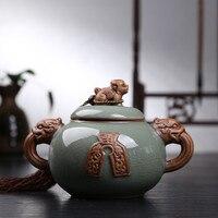 Kylin Hot Sale Top Grade Crackle Glaze Longquan Celadon Ceramics Capacity Eco Friendly Tea Caddy Tea