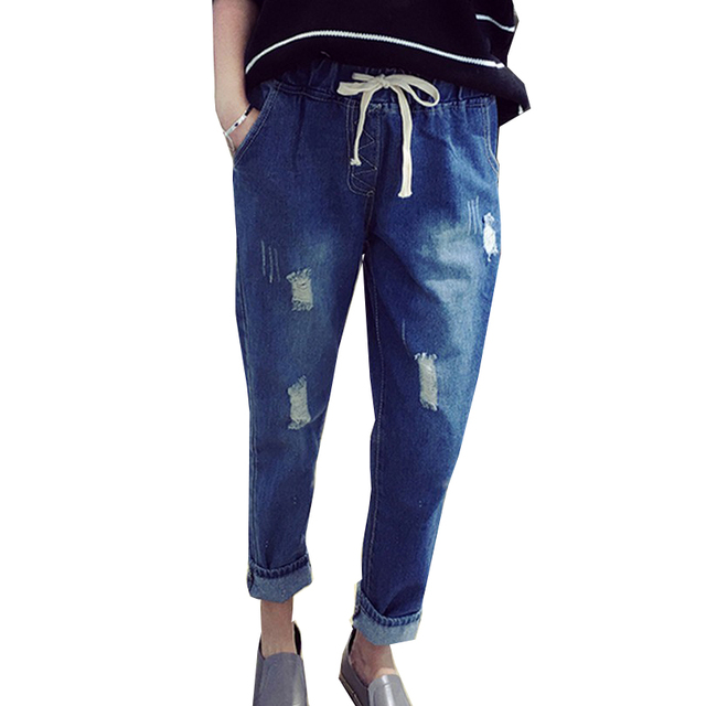 All Match Autumn Jeans S-XXL Elastic Waist Pantalon Washed Color Frazzle Harem Pants 2017 Women Trousers Denim Capri Pants