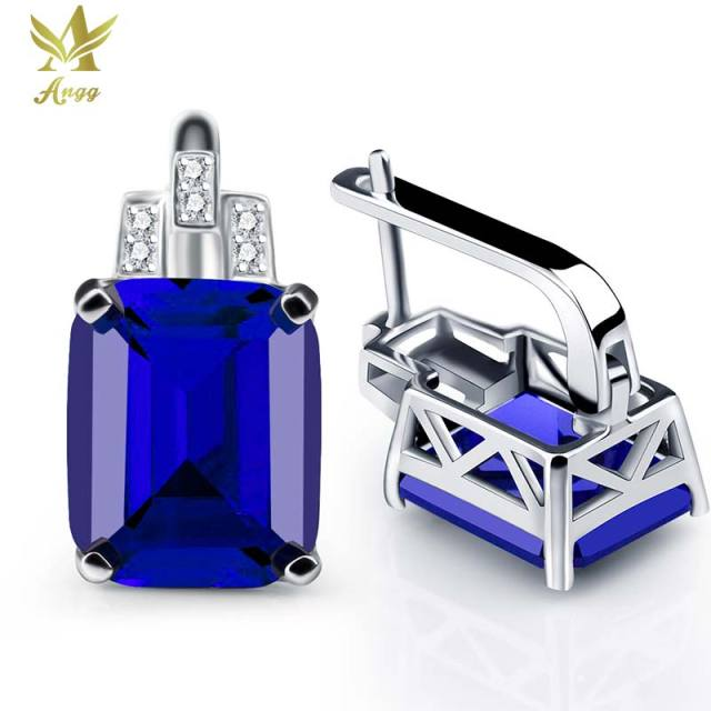 ANGG 12ct Square Cuts Earrings 925 Sterling Silver Jewelry for Women Blue Created Sapphire Wedding & Engagement Clip Earrings