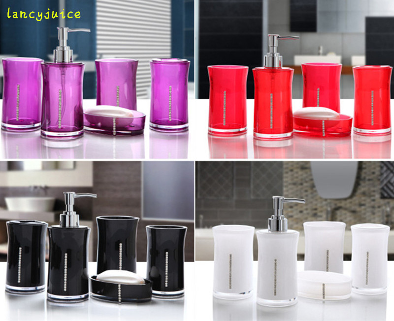 Elegant creative bathroom set luxury red white black for Red and black bathroom accessories sets