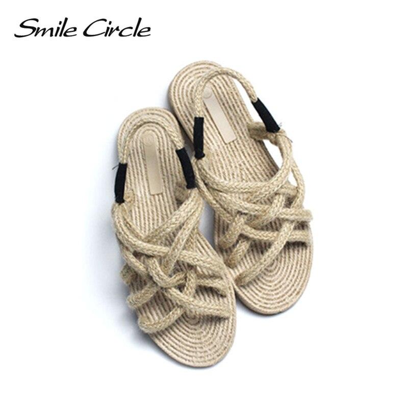 חיוך מעגל קיץ סנדלי נשים נעלי בד רך שטוח נעלי טבעי קנבוס חבל כפכפים נשים sandales פאטאל 2018 חדש