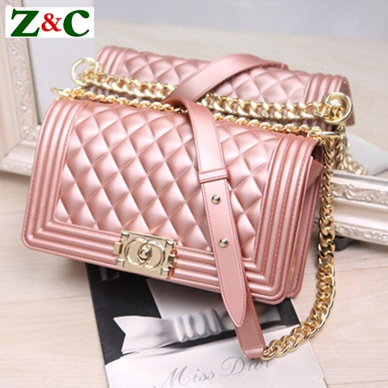 baaa88f3341ca 2018 de las mujeres de la moda diamante PVC Messenger bolsa de alta calidad  de bloqueo Matta Cadena de hombro