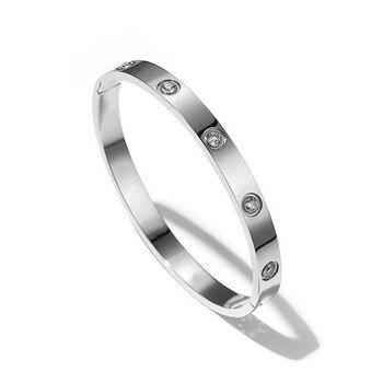 cc07649f9a0d De lujo de las mujeres brazalete de cristal brillante brazaletes para las  mujeres de moda pulseras y brazaletes de plata 316L de acero inoxidable  joyería de ...