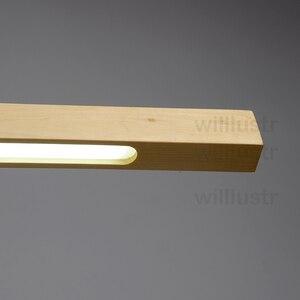 Image 4 - Willlustr LED עץ Talo תליון מנורת אגוז ארוך בר השעיה צינור אור משרד ישיבות אוכל חדר מלון וילה דלפק אור