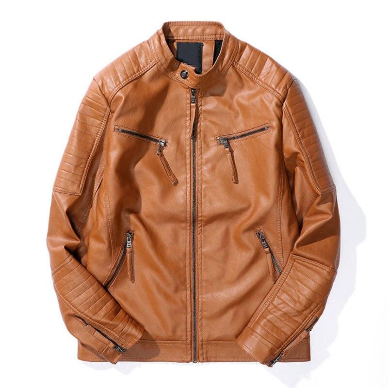 Slim rouge Homme Moto Vestes Pu Cuir Nouvelle Biker Noir Zipper Fit Veste jaune Automne Manteaux Noir Hommes Vêtements En Marque wIRnUWqFC