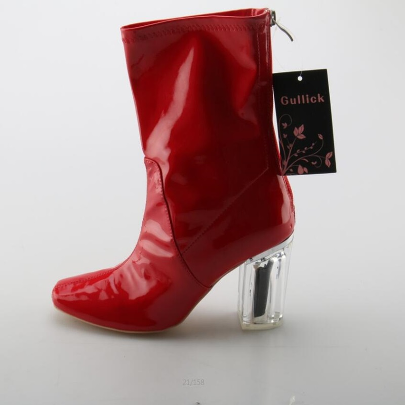Fashion Transparent PVC Chunky Heels Woman Boots Square Toe Zip Patent Leather Shoes Red Comfortable Autumn Dress Ladies Boots woman shinning patent leather ankle boots fashion square toe shoes woman chunky heels dress party shoes woman zipper short boots