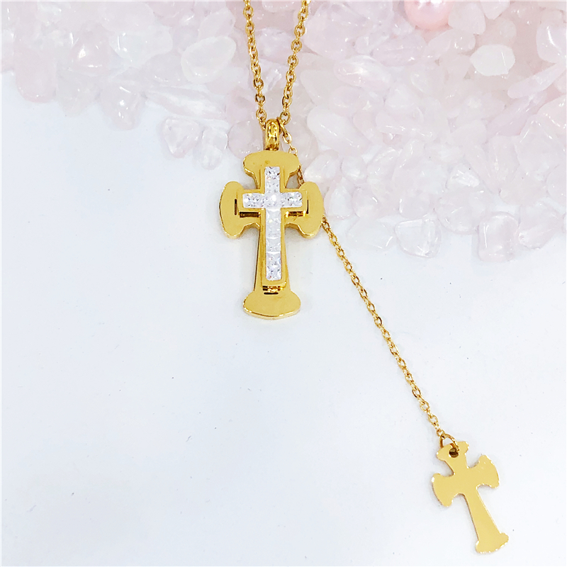 New Latin Cross Charm Necklace with Clear Zircon Elements Crystals Pendant Women's Round Silver Genuine Cross Necklace(China)