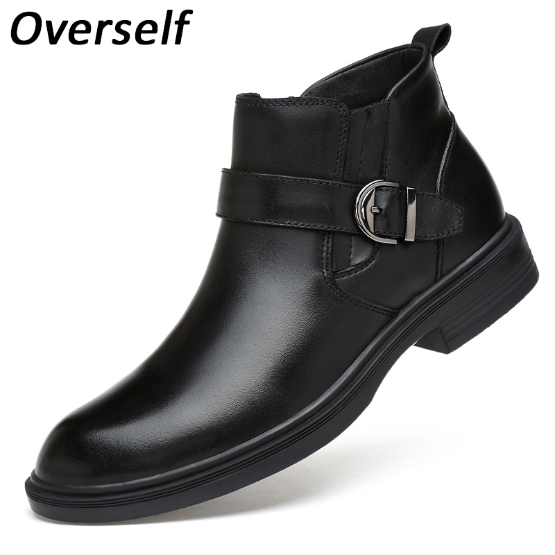 Men Chelsea Boots Winter Boots Plus Big Size Shoes Warmest Genuine Leather Russian Style Men Snow Boots New Footwear For man