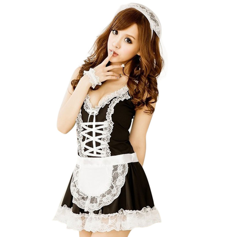 2019 Hot Sexy Lace Maid Servant Costume Set French Babydoll Dress Women Lingerie Black White Cosplay Lolita Erotic Uniform Apron