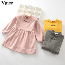 Vgiee Dress for Baby Girls Dresses 2019 Winter Party Princess Dress Full Patchwork Print Letter Little Girls Clothing CC268