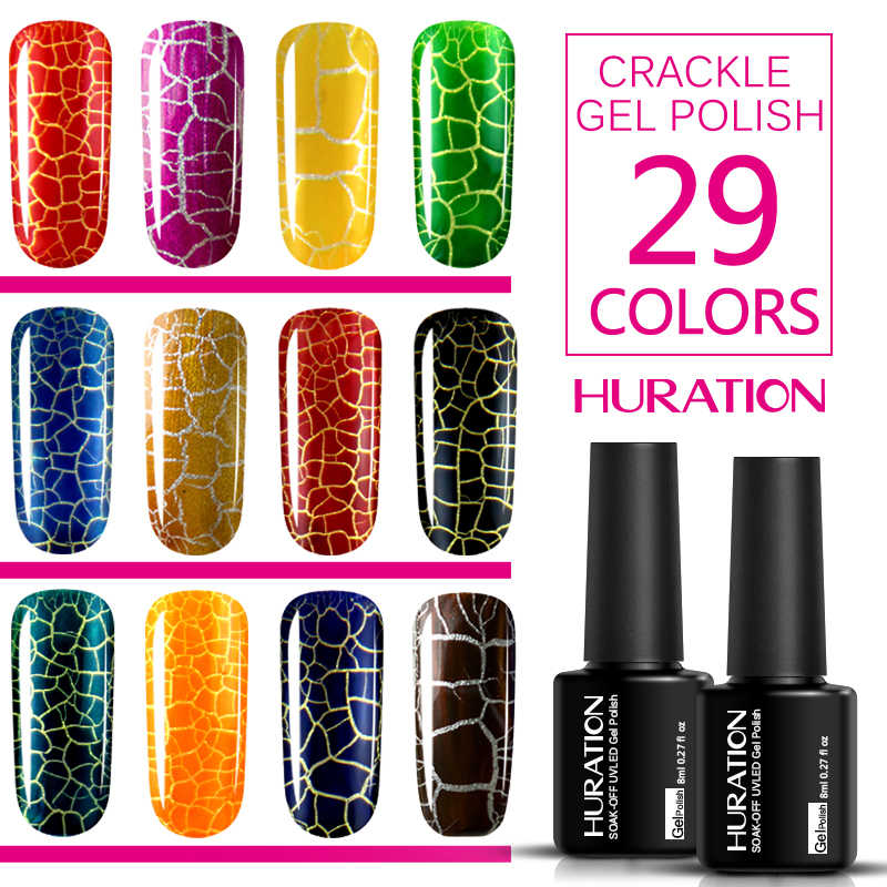 Huration Professional Crack Nail 8ML lakier do paznokci 12 kolorowy Crackle lakier do paznokci Semi Permanent Cracking lakier żelowy uv Vernis