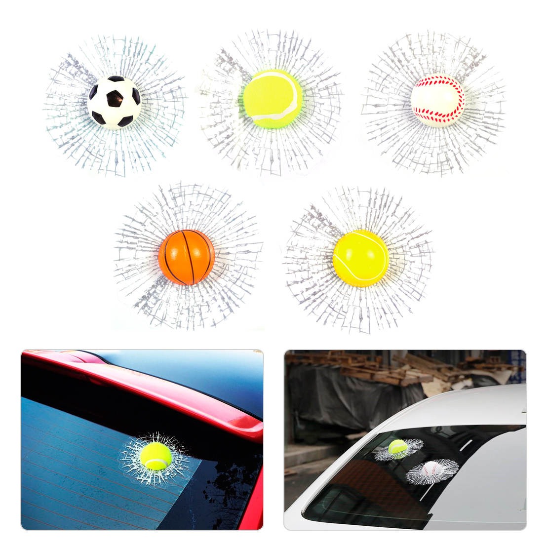 DWCX 3D Car Stickers Creative Funny Ball Hit Body Home Office Window Windshield Glass Surface Self Adhesive Basketball Football
