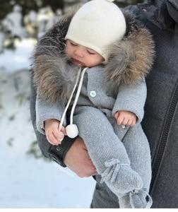 Image 4 - Combinaison de luxe avec col en fourrure de raton laveur, tricotée à capuche, vêtements à capuche pour bébés filles et garçons, barboteuses pour bébés, Vintage