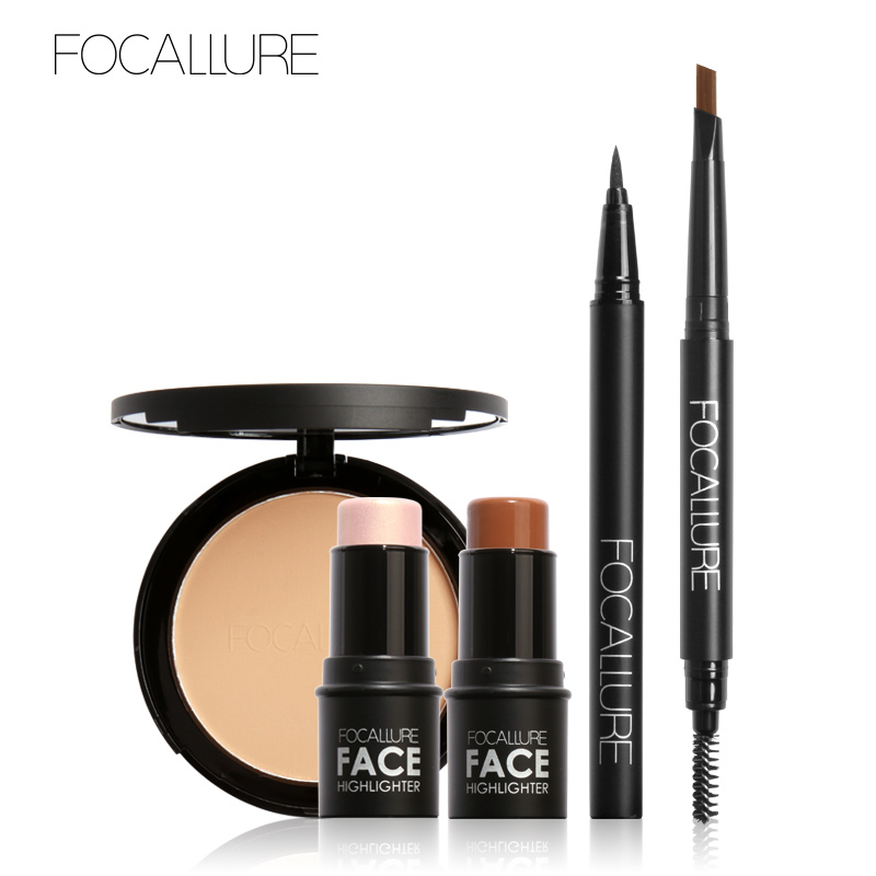 FOCALLURE Face Setting Powder Black Eyeliner Brown Eyebrow Pencil with 2Pcs Highlighter Stcker