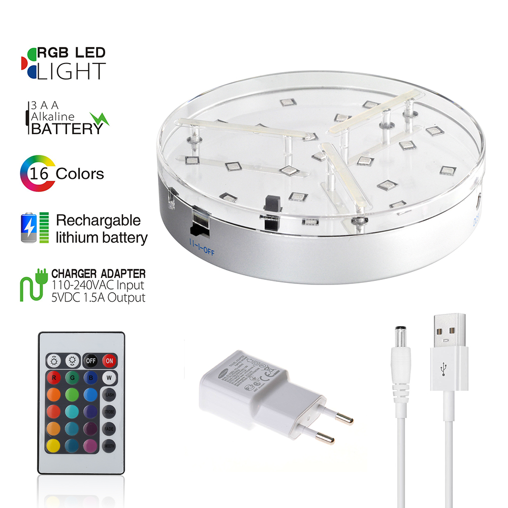(1pieces/ Lot) 6inch 19pcs SMD5050 RGB Multi-Colors Remote Controlled Wedding Centerpieces Light Base With Charge Adapter
