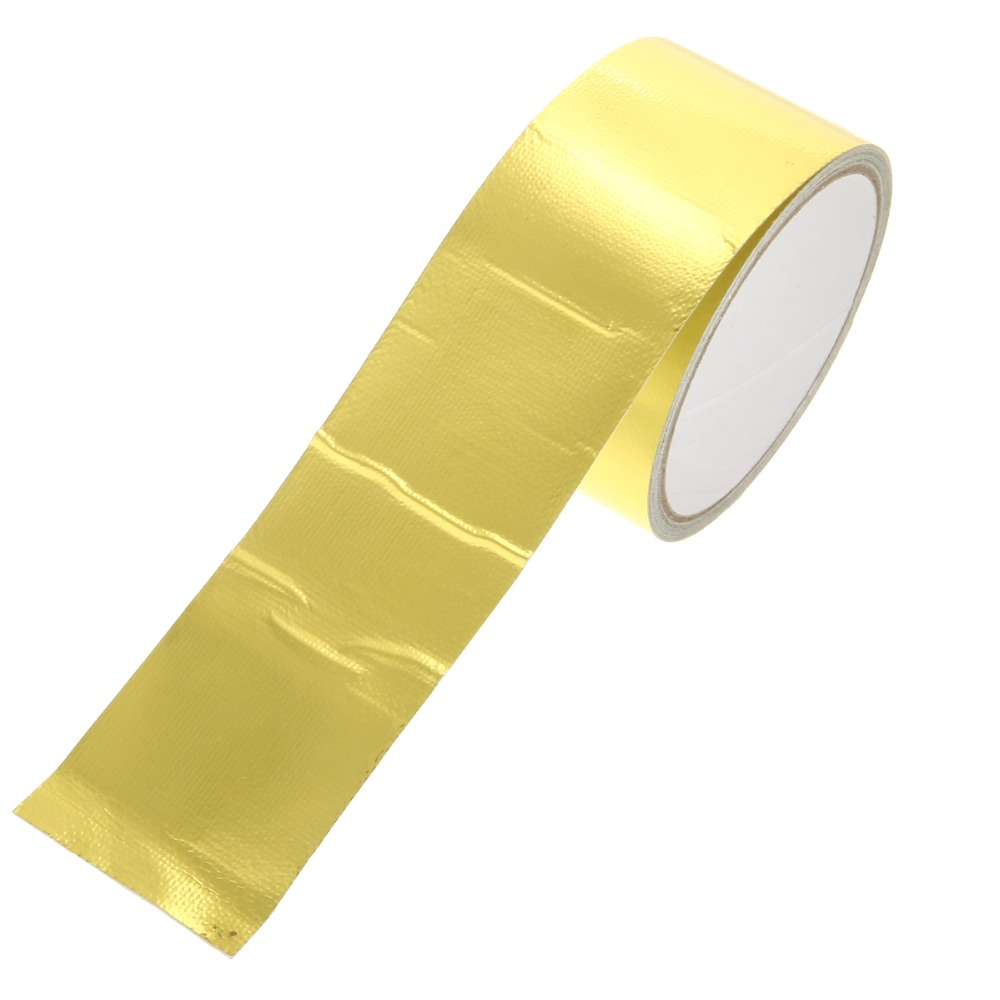 New Arrival 1 Roll 5cm*5m Adhesive Reflective Gold High Temperature Heat Shield Wrap Tape Waterproof Shield Wrap Tape-in Car Stickers from Automobiles & Motorcycles