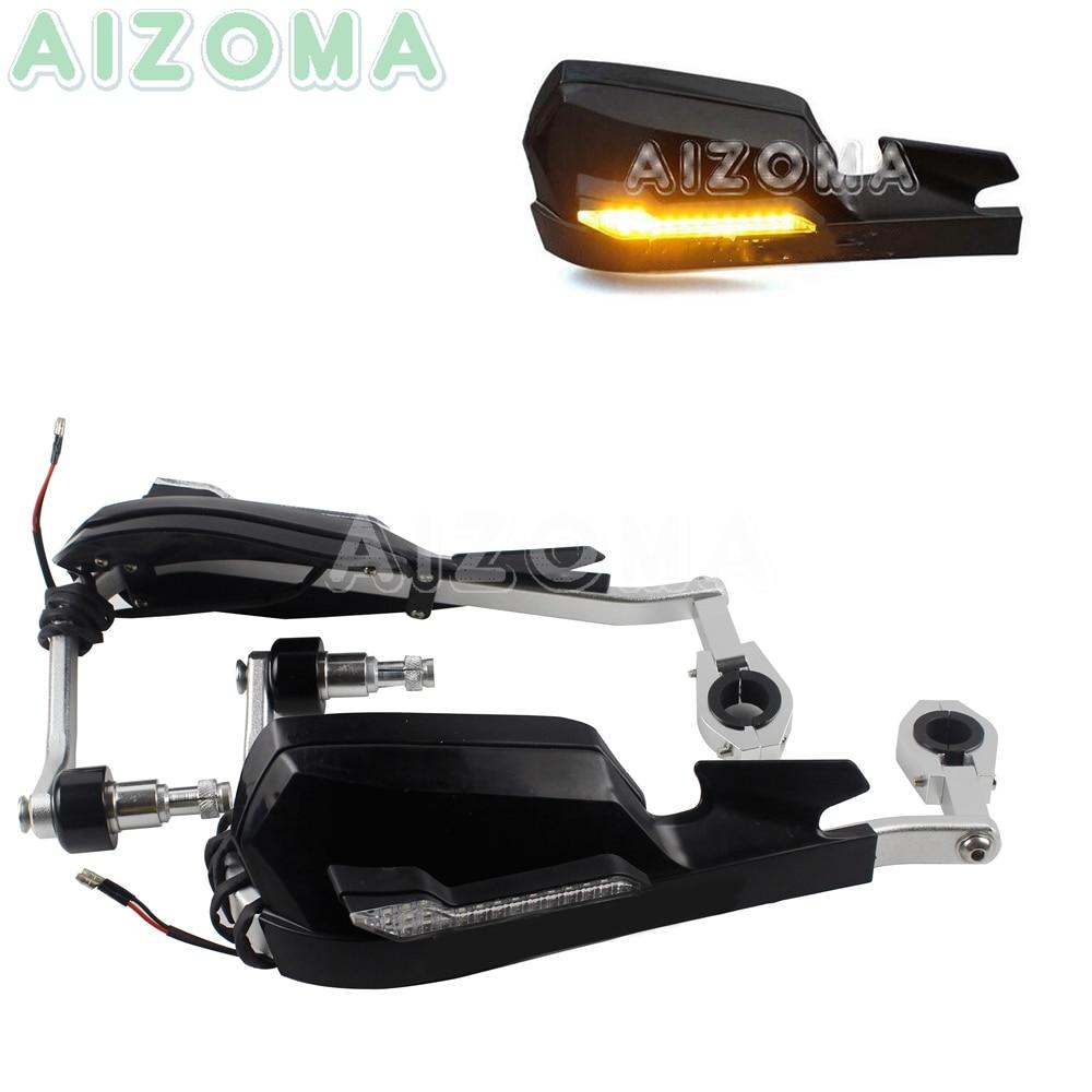 Motorcycle 7 8 Handguards 22 28mm Hand Protection Guard Shield w Light Racing Bike Universal For