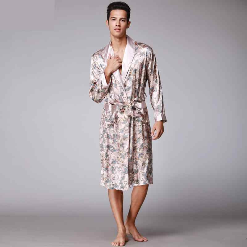 a2fd89c9a0 ... Men Kimono Robes V-neck Faux Silk bathrobes Nightgown For Male Senior Satin  Sleepwear Summer ...