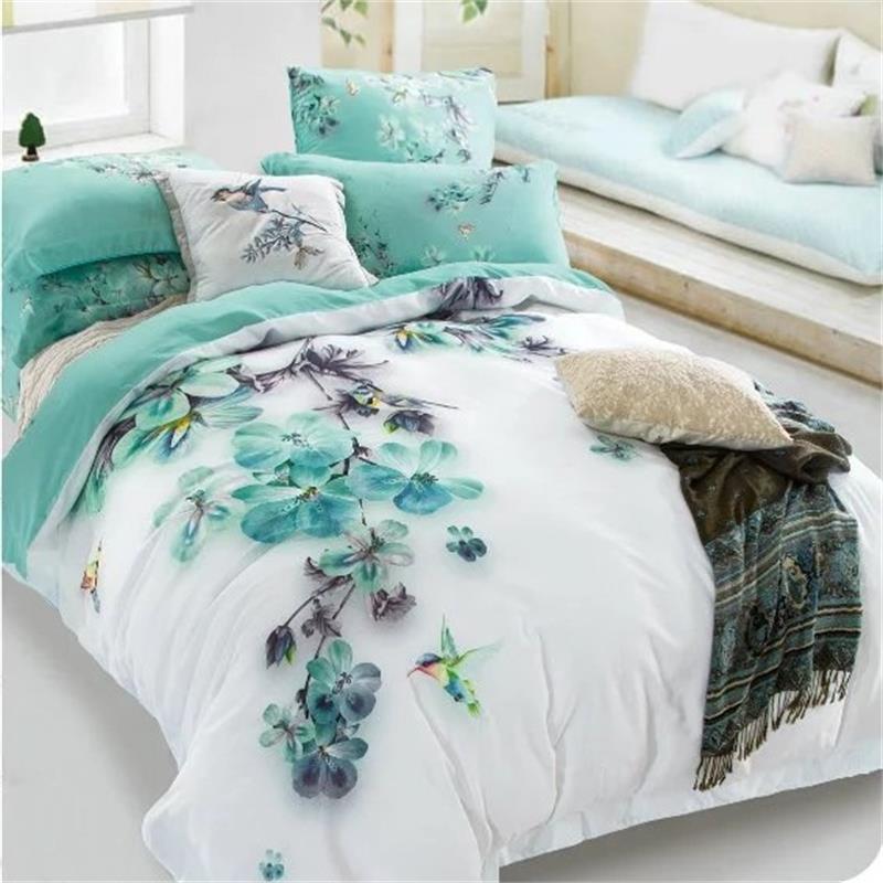 Pâle Turquoise Floral Et Oiseaux Impression Ensembles De Literie Reine  Taille 100% Coton Lit Feuilles