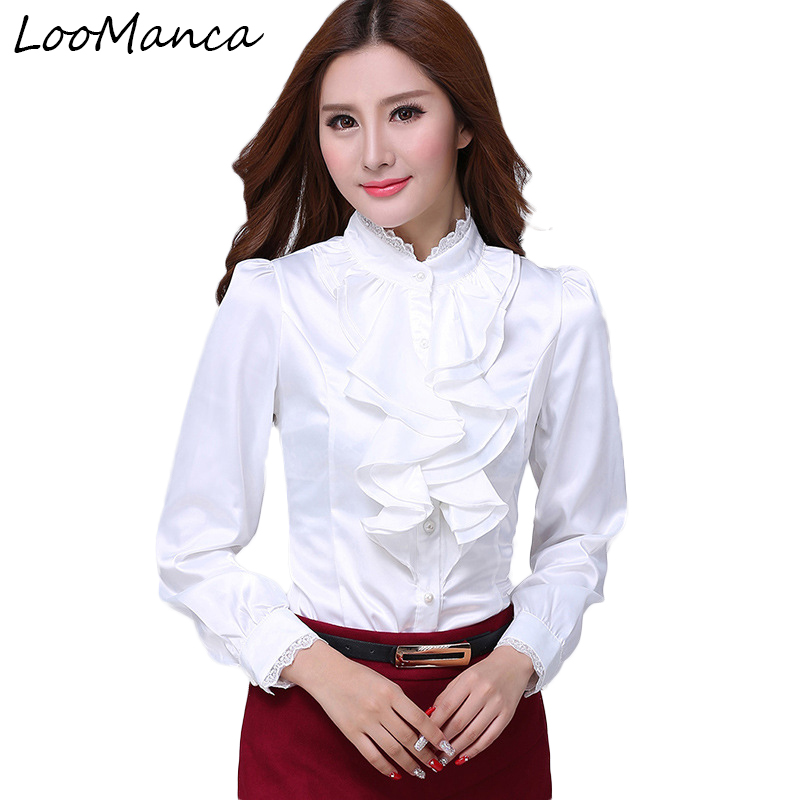 Autumn winter blouses wome long-sleeve female shirt slim stand collar ruffles work wear women blouse plus size chiffon tops