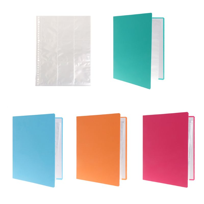 Removable 9-Pocket Blank Binder Silver Series Page Protector For Standard Size Cards