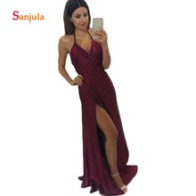 цена на Burgundy Satin A-Line Wedding Guest Dresses V Neck Halter Leg Slit Maid of Honor Bridesmaid Dress Cheap Backless Prom Gowns D39