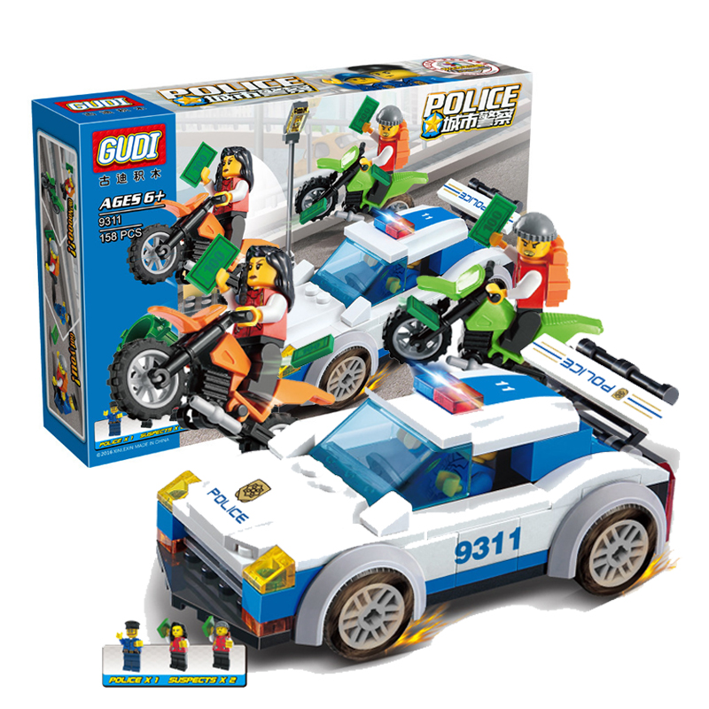 9311 GUDI 158Pcs SimCity High Speed Police Chase Model Building Blocks Enlighten DIY Figure Toys For Children Compatible Legoe decool 3117 city creator 3 in 1 vacation getaways model building blocks enlighten diy figure toys for children compatible legoe