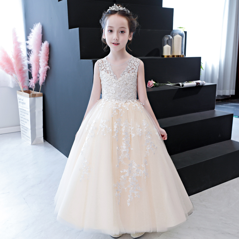 Summer New Kids Girls Fancy Lace Dress Children Bridesmaid Outfits Elegant Dress for Birthday Evening Party Gown Princess Dress lace high low swing evening party dress