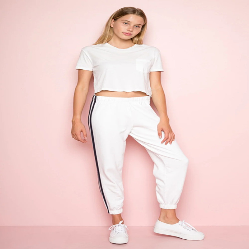 Side Striped Harem   Pants     Capris   Women Elastic Waist Casual Jogger   Pants   Trousers Female Sweatpants