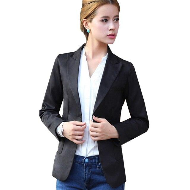 Твердые Кабо Блейзер Плюс Размер Куртки для Женщин 2016 Корейский Стиль Весна Осень Тонкий Зубчатый Однобортный Женщина Блейзеры C0967