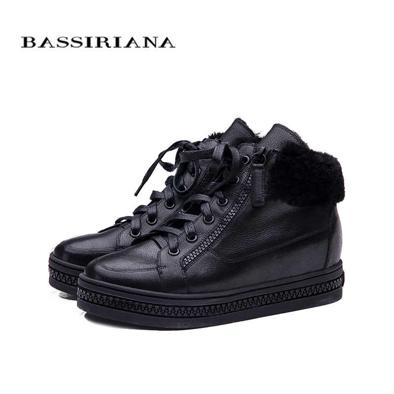 BASSIRIANA Phụ Nữ Oxfords New Mùa Đông da Ren-Up chiều cao tăng đế Toe Vòng Giản Dị Nền Tảng Giày Phụ Nữ màu đen