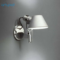 Artpad Modern Bedside Wall Lamp With Switch ON/OFF Silver Black E27 LED Adjustable Wall Mounted Reading Light 110V 220V