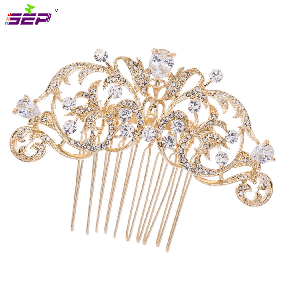Accessories rhinestone crystal drop zircon hair comb for Decor jewelry