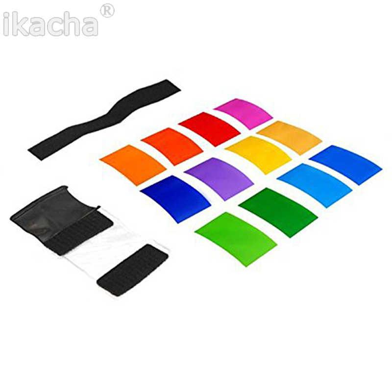 Hot 12 sztuk Flash dyfuzor uniwersalny Strobist Flash Speedlite karta kolorów dyfuzor oświetlenie żel Pop Up filtr do aparatów canon Nikon Sony